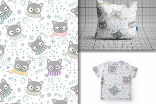 Seamless Christmas Cute Cats Pattern Graphic Patterns By lindoet23