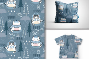 Seamless Christmas Kawaii Cats Pattern Graphic Patterns By lindoet23