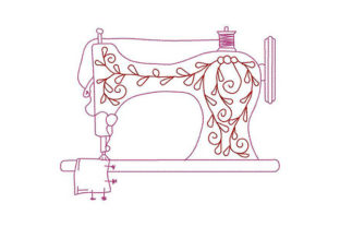 Print on Demand: Sewing Machine Duo Color Work & Occupation Embroidery Design By Dizzy Embroidery Designs