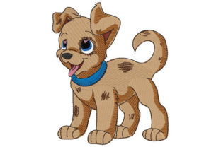 Print on Demand: Smiling Puppy with Spotted Coat Animals Embroidery Design By Dizzy Embroidery Designs