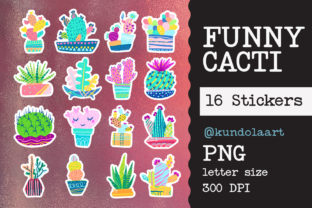 Print on Demand: Stickers Cute Cactus, Succulent, Cacti Graphic Print Templates By KundolaArt