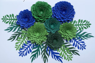 Succulents and Leaves Template Graphic 3D Flowers By Canada Crafts Studio