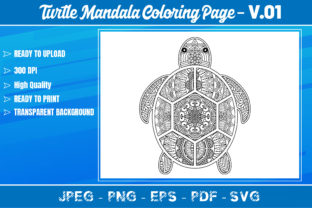 Turtles Mandala Coloring Book VOL.01 Graphic Coloring Pages & Books Adults By KDP Mastery