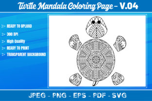 Turtles Mandala Coloring Book VOL.04 Graphic Coloring Pages & Books Adults By KDP Mastery