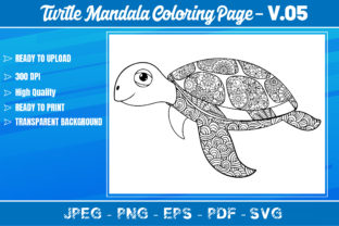 Turtles Mandala Coloring Book VOL.05 Graphic Coloring Pages & Books Adults By KDP Mastery