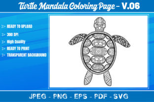Turtles Mandala Coloring Book VOL.06 Graphic Coloring Pages & Books Adults By KDP Mastery