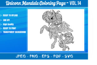 Unicorn Mandala Coloring Book VOL.14 Graphic Coloring Pages & Books Adults By KDP Mastery