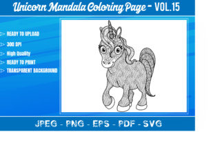Unicorn Mandala Coloring Book VOL.15 Graphic Coloring Pages & Books Adults By KDP Mastery