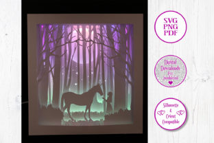 Unicorn and Girl - 3D Paper Cut Template Graphic 3D Houses By Jumbleink Digital Downloads