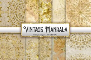 Print on Demand: Vintage Mandala Glitter Background Graphic Backgrounds By PinkPearly