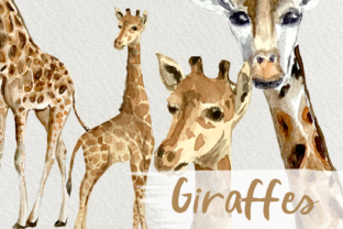 Print on Demand: Watercolor Giraffes Clip Art Graphic Illustrations By tatibordiu