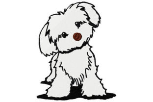 Print on Demand: White Bichon Puppy Dog Dogs Embroidery Design By Dizzy Embroidery Designs