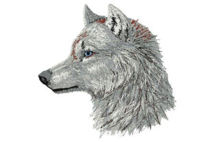 White Wolf Tiere Stickdesign von Dizzy Embroidery Designs
