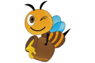 Print on Demand: Winking Bee with Honey Jar Animals Embroidery Design By Dizzy Embroidery Designs