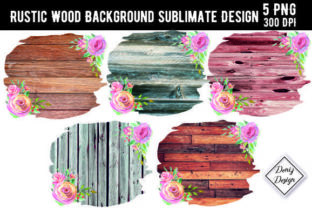 Print on Demand: Wood Flower Background Sublimate Design Graphic Backgrounds By DenizDesign