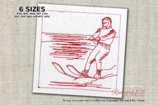Young Boy Water Skiing on a Sea Sports Embroidery Design By Redwork101