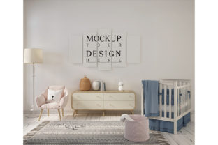 Print on Demand: Cute Nursery Room with Mockup Poster Graphic Product Mockups By izharartendesign