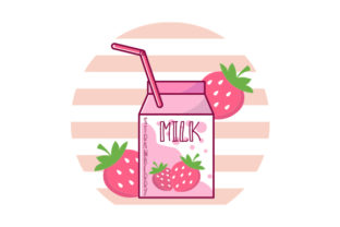 Funny Retro 90s Japanese Kawaii Strawberry Milk Shake Carton Designs & Drawings Craft Cut File By Creative Fabrica Crafts