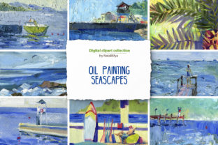 8 Oil Painting Digital Seascapes Graphic Illustrations By NataliMyaStore