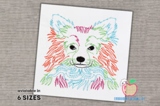 A Colorful Sketch of the Chihuahua Dog Dogs Embroidery Design By embroiderydesigns101