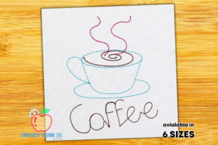 A Cup of Hot Coffee Tee & Kaffee Stickdesign von embroiderydesigns101