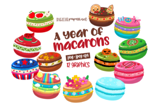 Print on Demand: A Year of Macarons Clipart Set Graphic Illustrations By DigitalPapers
