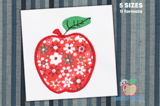 Apple Applique Design Food & Dining Embroidery Design By embroiderydesigns101