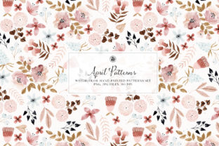 Print on Demand: April Patterns - Watercolor Patterns Set Graphic Patterns By webvilla