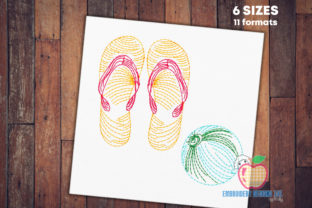 Beach Ball Sandals Beach & Nautical Embroidery Design By embroiderydesigns101