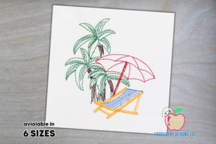Beach Scene with Chairs Beach & Nautical Embroidery Design By embroiderydesigns101