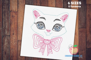 Beautiful Cat Lady Bean Stitch Cats Embroidery Design By embroiderydesigns101