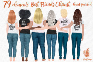 Print on Demand: Best Friends Clipart Girl Graphics Graphic Illustrations By LeCoqDesign