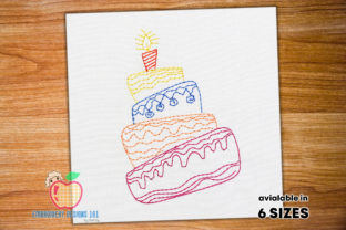 Birthday Cream Cake Running Birthdays Embroidery Design By embroiderydesigns101