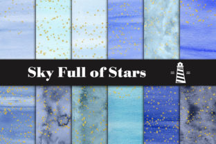 Print on Demand: Blue Watercolor & Gold Stars Paper Graphic Backgrounds By northseastudio