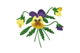 Print on Demand: Bouquet of Pansies Floral Wreaths Embroidery Design By EmbArt