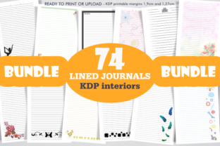 Print on Demand: Bundle 74 KDP Interiors, Lined Journals. Graphic KDP Interiors By artsbynaty 1