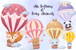 Print on Demand: Cute Animals & Air Balloons Clipart Set Graphic Illustrations By DrawStudio1988