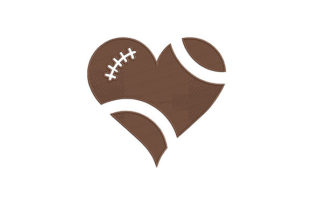 Football Heart Sports Embroidery Design By DigitEMB