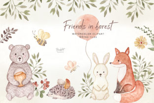 Friends in Forest, Woodland Animals Graphic Illustrations By brushartdesigns