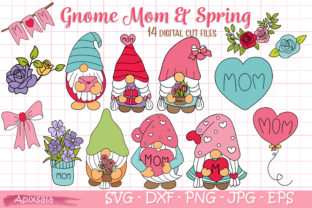 Gnome Mom / Mum-Spring, SVG Cutting File Graphic Crafts By Apixsala