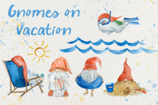 Print on Demand: Gnomes on Vacation Watercolor Clip Arts Gráfico Ilustraciones Por tatibordiu
