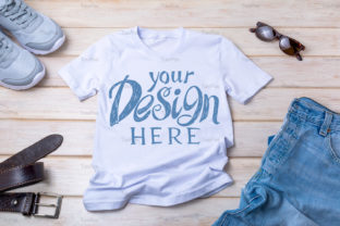 Print on Demand: Mens T-shirt Mockup with Jeans, and Belt Graphic Product Mockups By TasiPas