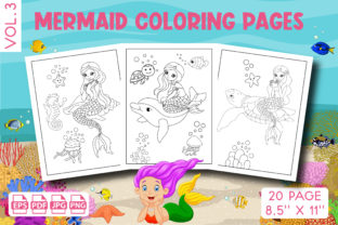 Mermaid Coloring Pages for Kids Vol. 3 Graphic KDP Interiors By Vibgyor