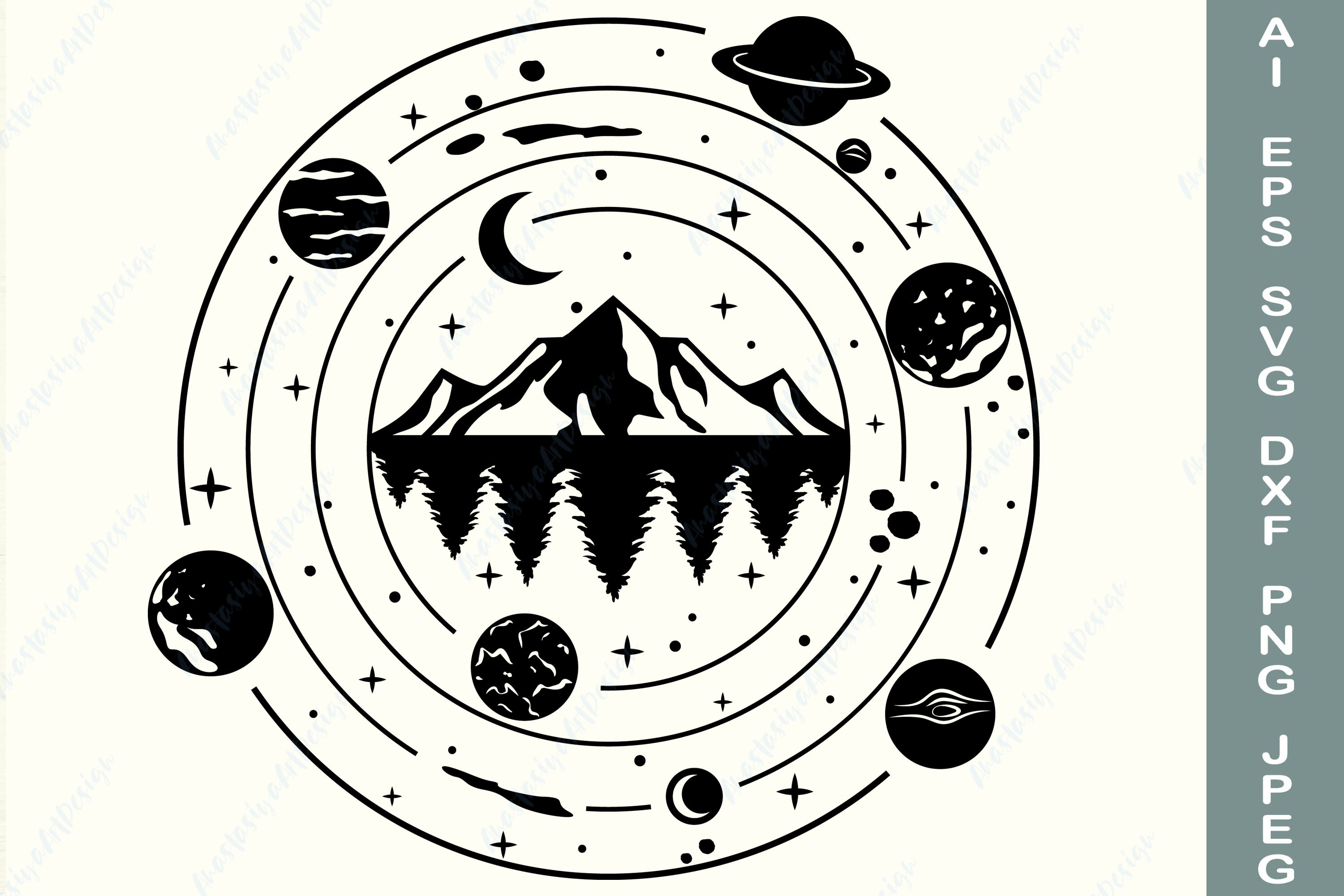 Mountain, Forest Svg, Galaxy Svg, Nature SVG File