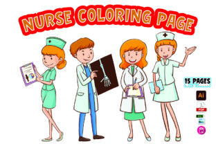 Nurse Coloring Page for Kids Graphic KDP Interiors By Moonz Coloring