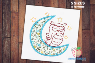 Owl Siting on Moon Vögel Stickdesign von embroiderydesigns101