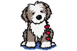 Puppy with Hearts Dogs Embroidery Design By Dizzy Embroidery Designs