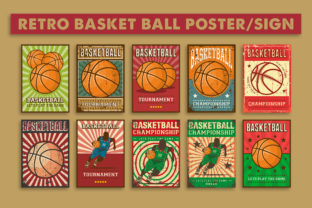 Print on Demand: Retro Vintage Basket Ball Sign Poster Graphic Illustrations By zullfikarilyas