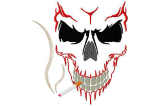 Print on Demand: Skull Smoking a Cigar Halloween Embroidery Design By Dizzy Embroidery Designs