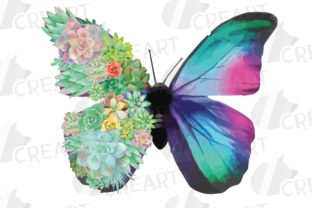 Print on Demand: Succulent Garden Butterfly Decor Clipart Graphic Print Templates By CreartGraphics